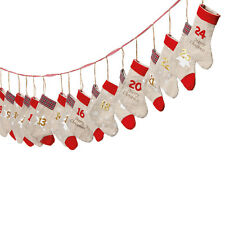 Adventskalender zum Befüllen 'Söckchen' Leinen rot gold L260cm Weihnachten