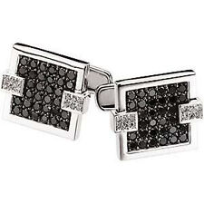 14K WHITE GOLD MEN/GENTS BLACK COLOR DIAMOND CUFF LINKS