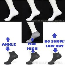 Men  Women 9-11 Crew Ankle Low Cut Sports Socks Black White Gray 3 6 12P New