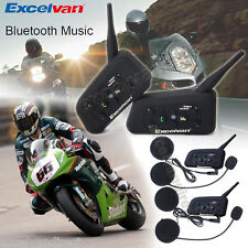 2x 1200M Interphone BT Bluetooth Motorbike Motorcycle Helmet Intercom Headset UK