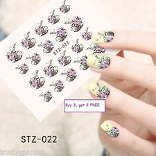 Nail Art Water Decals Transfers Purple Black Flowers French Gel Polish (stz22)