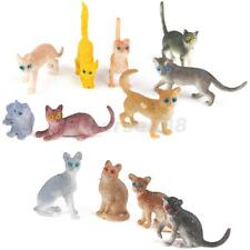12pcs Cute Colorful Small Cat Figures Plastic Realistic Model Kids Toy Decor