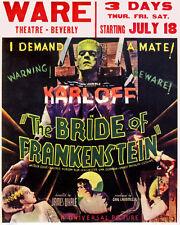 THE BRIDE OF FRANKENSTEIN Vintage Horror Movie Poster CANVAS ART 24x29 - BIG