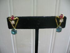 Vintage AMCO 12KT GF Pink Blue Clear Crystal Textured Loop Screw-back Earrings