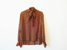 Yves Saint Laurent Blouse / Shirt / Top with Gemstone Pattern and Pussy Bow