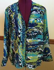 Laura Ashley Woman Beach Glass Turquoise Blue Floral Cardigan Jacket Size 2X