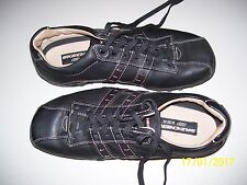PAIR OF MENS BLACK LEATHER UPPER SHOES BY SKECHERS SIZE 7 U.S.A., SN 60488,