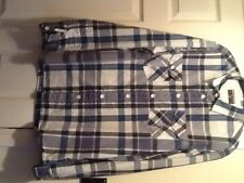 "BURTON BLUE WHITE CHECK LONG SLEEVE SHIRT SIZE  lCHEST  48"" freepost"