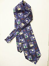 'WALLACE & GROMMIT' NOVELTY TIE BY MARKS & SPENCERS BLUE & MULTI VERY SUBTLE