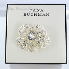 DANA BUCHMAN Silver Tone OPEN Design FLOWER BROACH Brooch CLEAR Faux CRYSTAL Pin