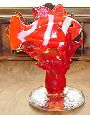 Signed FULTON Clownfish in Coral Art Glass Sculpture