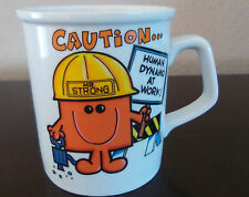 Vintage 1976 Mr. Strong Caution Human Dynamo at Work Coffee Mug Roger Hargreaves