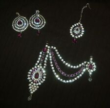 3pc Silver/Purple Hair/head tikka side mata pate jewellery Wedding/Party Set New