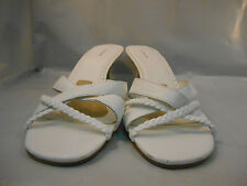 Croft and Barrow White Leather Strappy Slide Sandals w/ Kitten Heels Size 9 M