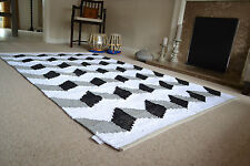 3D Design Rug Soft Cotton Black White Grey Hand Made Woven 120x180cm 6x4
