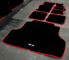 Black/Red Car Mats Mitsubishi Lancer Evolution 4 RHD (EvoIV)+ Boot Mat+ RalliArt