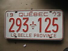 1973 73 QUEBEC CANADA CANADIAN LICENSE PLATE  # 293 125