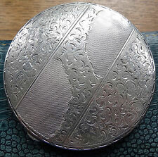 vintage BIG 113g solid 800 SILVER ornate mirror powder vanity compact -D378