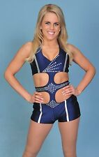 1 of a KIND SEXY NAVY HEAVY-WEIGHT+RHINESTONES DANCE/CHEER COSTUME-Size M