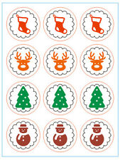 CHRISTMAS Stickers XMAS Symbol  Labels Seals Stickers Decoration Gift 12 pcs