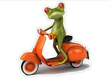 FUNNY GREEN TREE FROG  ON VESPA SCOOTER  CAR WINDOW STICKER DECAL SCOOTER BIKE