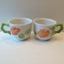 VILLEROY & BOCH SPRING ROSE MUG/CUP ORANGE FLOWERS GERMANY SET OF 2 EUC