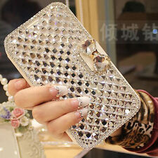 2017 White Luxury Crystal Bling Diamond Flip Leather Case For Various Phone