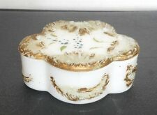 "VICTORIAN circa 1900 Milk Glass Hand Painted Dressing Table Box+Lid 4"" x3""x 1.5"""