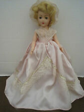 Vintage Doll 1950's Hard Plastic 12 in. Full Dress Leather Shoes