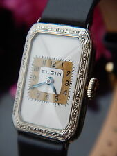 ELGIN Ladies Watch Vintage 1920's 14k White Gold Filled Case Hirsch Leather Band