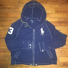 RALPH LAUREN POLO SWIMWEAR HOODED JACKET BIG PONY BLUE MENS L LARGE