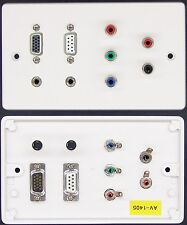 AV Wall Plate VGA / Serial / RGB Video / RCA Phono Audio / 2x 3.5mm Jack sockets