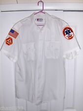 PARAMEDIC EMT SHIRT WITH TWO BADGES- PATCHES AND ONE USA FLAG PATCH