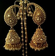 Designer Ethnic Bollywood Paisely Pearl Kundan Jhumka Indian ADIVA Earrings ab95