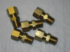 "FIVE Brass 1/8"" PIPE NPT X 5/16"" COMPRESSION FITTINGS OIL AIR GAS FREE SHIP USA"
