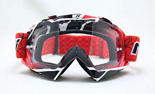 NENKI MX GOGGLE NK-1019 TECHLINE RED, CLEAR LENS WITH TEAR OFF PINS, MOTOCROSS