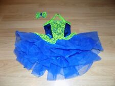 Child Size 6X-7 Creations by Cicci Royal Blue Neon Green Lace Dance Tutu Leotard