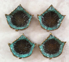 Set of 4 - ISRAEL HAKULI  Leaves-SOLID BRASS with blue green enamel