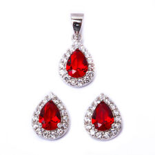 Pear Shape Deep Garnet & Cz .925 Sterling Silver Earring & Pendant Jewelry set