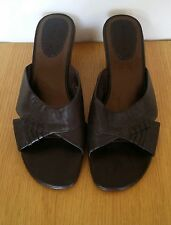 LIZ CLAIBORNE BROWN LEATHER PUMPS MULES WEDGES SLIP ON SHOES 6.5  39.5 VGC