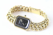 VINTAGE CHANEL PREMIER BLACK DIAL GOLD TONE CHAIN STEEL QUARTZ WATCH 27MM