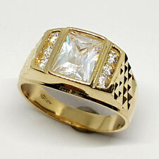14K solid yellow gold light weight white Topaz  men's 7x9mm ring size 10