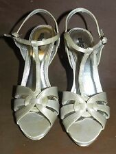 Unlisted By Kenneth Cole Sz 7.5 M Satin Silver Heels Ankle-strap Fancy Shoes