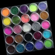 25 Multi-color 3D Glitter Powder Dust Sequins Nail Art Tips Crystal Decor SetsNA
