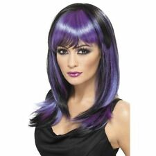 Women's Girls Purple & Black Glamour Fancy Dress Long Wig Halloween Witch Fun