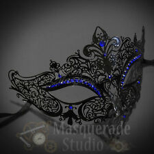 Womens Luxury Metal Venetian Masquerade Mask [Black with Blue Rhinestones]