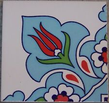 "Light Blue 4""x4"" Turkish Iznik Ceramic Daisy & Tulip Pattern Tile Border Corner"