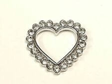 MT67- 10pc 25mm Crystal Diamante Rhinestone Heart Outline, Wedding Topper Buckle