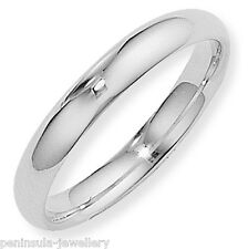 Argentium Silver 4mm Court Wedding Ring Band Size J Full UK Hallmarks