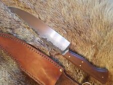 hand forged rasp bowie knife with leather sheath.